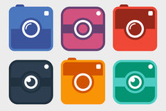 Hipster photo camera icon set. Six colorful, different, photo camera pictogram, in trendy flat style, isolated on white background. vector illustration Stock Images