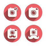 Hipster photo camera with mustache icons Stock Images