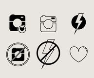 Hipster photo or video camera icon, minimalism Stock Images