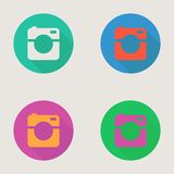 Hipster photo or video camera icon, minimalism Royalty Free Stock Photography