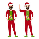 Hipster Photographer, journalist, reporter at work. With the camera  in the red hat of Santa Claus, Christmas costumes. trendy flat character, Vector Royalty Free Stock Images
