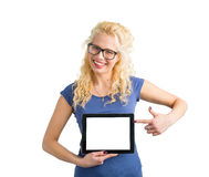 Hipster pointing at blank screen computer with one hand Stock Photos