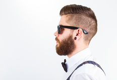 Hipster portrait isolated on white Royalty Free Stock Images