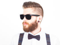 Hipster portrait  on white Royalty Free Stock Photos