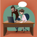 Hipster portrait of wolf with glasses. Office scene with cute woman and man on the table stock illustration