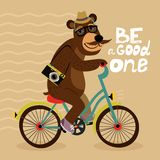 Hipster poster with geek bear. Riding bicycle vector illustration stock illustration