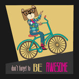 Hipster poster with nerd bear riding bike Royalty Free Stock Photo