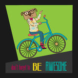 Hipster poster with nerd dog riding bike Royalty Free Stock Photo