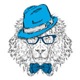 Hipster. Poster . Print . Greeting card with animals. Leo hat . Royalty Free Stock Image