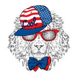 Hipster. Poster . Print . Greeting card with animals. Lion in cap and glasses. Stock Photography
