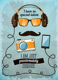 Hipster poster with vintage accessories and items Royalty Free Stock Image