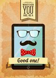 Hipster poster with vintage tablet Royalty Free Stock Photos