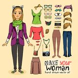 Hipster pretty girl with accessories Royalty Free Stock Images