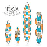 Hipster print for surfboards. Hipster print for various forms of surfboard: shortboard, longboard; fish and gun Royalty Free Stock Photos
