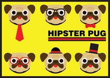 Hipster Pug Flat Cartoon Royalty Free Stock Photos