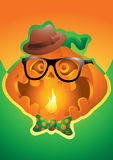 Hipster pumpkin halloween background Stock Photography