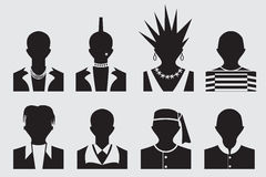 Hipster,punk, emo, rockstar and prisoner avatar Stock Photos