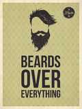 Hipster quotes: Beards over everything. Beards over everything - Hipster quote and face look hand drawn illustration on the vintage background with repeating Royalty Free Stock Photo