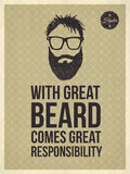 Hipster quotes - With great beard comes great responsibility Royalty Free Stock Photography