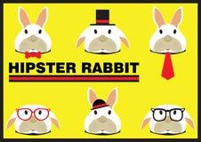 Hipster Rabbit Flat Cartoon Stock Photos