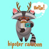 Hipster Raccoon Poster Royalty Free Stock Photo