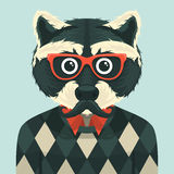 Hipster raccoon Stock Photo