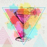 Hipster realistic and polygonal cocktail cosmopoliatn. On artistic watercolor background Stock Photography