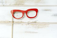 Red Paper Glasses. Hipster red glasses in paper style.Party accessory stock photo