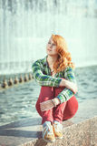 Hipster redhead girl Stock Photo
