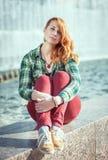 Hipster redhead girl Royalty Free Stock Photos
