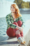 Hipster redhead girl Stock Images