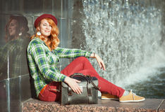 Hipster redhead girl Stock Photography