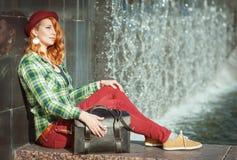 Hipster redhead girl Stock Photos