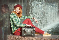 Hipster redhead girl in checkered shirt Royalty Free Stock Photos