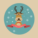 Hipster Reindeer with Chistmas tree and the gift boxes merry chr Stock Photos