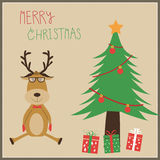 Hipster Reindeer with Chistmas tree  Royalty Free Stock Images