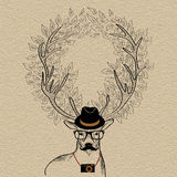 Hipster reindeer greeting card Stock Image