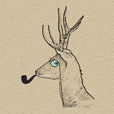 Hipster reindeer smoking tobacco pipe Stock Images