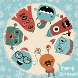 Hipster Retro Freaky Monsters Christmas Card Design vector illustration