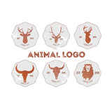 Hipster retro logotype with head of deer, lion and buffalo.  royalty free illustration