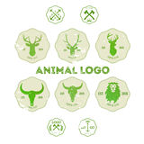 Hipster retro logotype with head of deer, lion and buffalo.  stock illustration