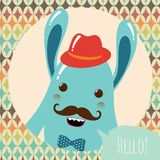 Hipster Retro Monster Card Design Stock Photography