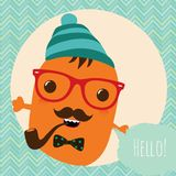 Hipster Retro Monster Card Design Stock Photos
