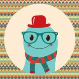 Hipster Retro Monster Card Design Royalty Free Stock Image