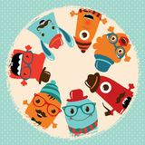 Hipster Retro Monsters Card Design Royalty Free Stock Image