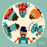Hipster Retro Robots Card Illustration Stock Images