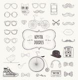 Hipster Retro Vintage Doodle Icon Set Stock Photos
