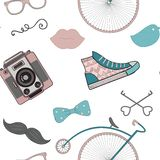 Hipster Retro Vintage Doodle Seamless Pattern Stock Photography