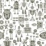 Hipster robot seamless pattern black and white Royalty Free Stock Photo