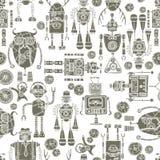 Hipster robot seamless pattern black and white. Hipster robot retro humanoid machinery black and white seamless pattern vector illustration Royalty Free Stock Photo